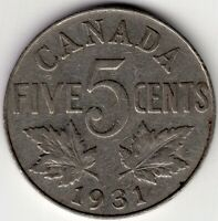 1931 CANADA FIVE 5 CENT NICKEL KING GEORGE V COIN