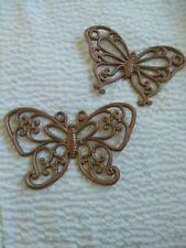 Vintage Homco Gold Butterflies Wall Plaque Home Interior Retro