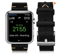 Black Genuine Leather Strap Band For Apple Watch 42/44mm Series 1,2,3,4,5