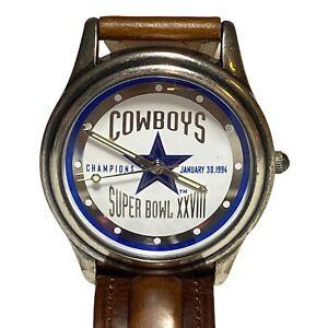 New! 1994 Dallas Cowboys Super Bowl XXVIII Fossil Leather Wrist Watch Ltd. Ed.