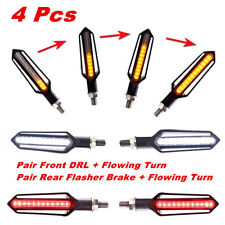 4x Sequential Flowing LED Motorcycle Turn Signal Indicator Lights DRL Brake Lamp