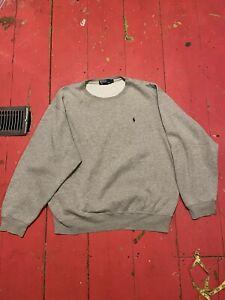 VTG Men's Polo Ralph Lauren Gray Crewneck Sweatshirt Long Sleeve Large