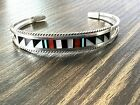 Native American Sterling Silver Weahkee Mosaic Inlay Bracelet Cuff ~ Signed