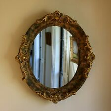 Vintage Mirror with Sculpted Gold and Green Composite Frame