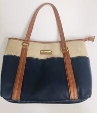 Marc Fisher Blue Vegan Leather/ Canvas Large Handbag Double Handles. Excellent