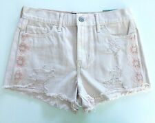 NWT Hollister Womens Embroidered High Rise Pastel Pink Short-Shorts Sz 5 W 27