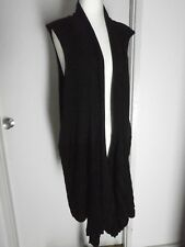 FIELDS WOMAN Black Wool Blend Open Front Long Vest Size M