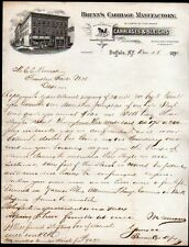 1892 Brunns Carriage Sleigh Manufactory - Buffalo NY - Letter Head Rare history