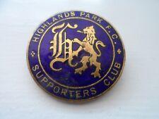 Old Highlands Park Football Supporters Club  Enamel Badge