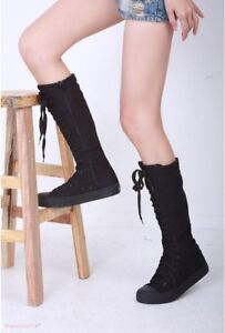 Fashion Women's Leisure Sneaker Lace Up Zip Boot Knee High Boots Flat Tall Shoe