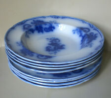 "Seltenes Tafelservice ""Wedgwood Pearl"", Keramik, blau bemalt, 4 Marken, antik"