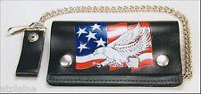 Portefeuille cuir chaîne US FLAG GM - Style BIKER HARLEY