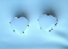 White Faceted Glass Claw Set Silver Tone Heart Stud Earring - 8 x 8mm On Posts