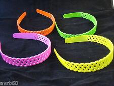 aliceband hairband in woven plastic lattice various bright neon colours new