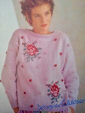 "FL8 - Knitting Pattern - Lady's Rose Bobble Jumper - Sizes 32-38"""