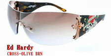 ED HARDY SUNGLASSES CROSS OLIVE BROWN AUTHENTIC BRAND NEW WITH CASE