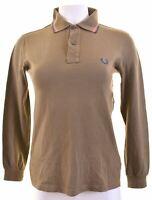 FRED PERRY Womens Polo Shirt Long Sleeve Size 10 Small Khaki Cotton  FJ03