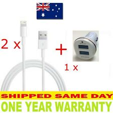 2x iPhone 5/5S/6/7+/8+/X Lightning Cable + USB dual port Car Charger + Warranty