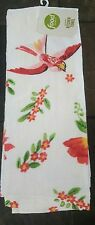 "Food Network Red Pink Bird Flowers Floral Kitchen Dish Tea Towel Cotton 16""x28"""