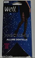 WELL COLLANT Femme LYCRA T 3/4  DENTELLE NOIRE MAGIC NIGHTS 22 DENIERS