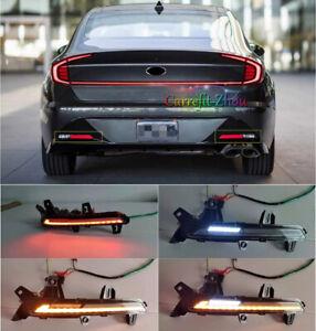 Fit For Hyundai Sonata 2020-2021 LED Rear Bumper Fog Light Lamp Reflector 2PCS