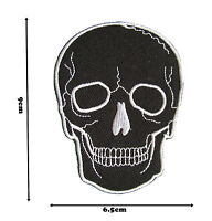 Black Skull Iron Sew On Embroidered Patch Badge Patches Logo Fancy Badges P347