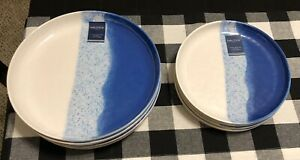 Nautica Ocean Blue Wave Sand Seashore Crackled Melamine Dinner Plates Bowls 8