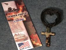 USMC Camouflage Cross Necklace plus a FREE St. Michael Prayer Card