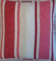 A 16 Inch Laura Ashley cushion Cover In Awning Stripe Cranberry fabric