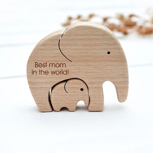 Elephant Mother And Child—Mother's Day Gift Wooden Ornaments TH