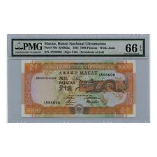 *jcr_m* MACAU MACAO 1000 PATACAS 1991 P.70B PMG MS-66 *UNCIRCULATED*