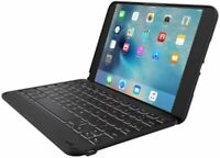 ZAGG Folio Case, Hinged with Backlit Bluetooth Keyboard for iPad Mini 4 - Black