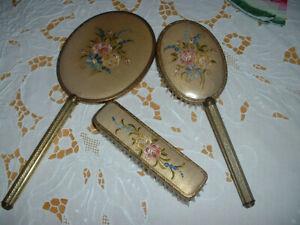 Vintage petitpoint brush hairbrush & mirror