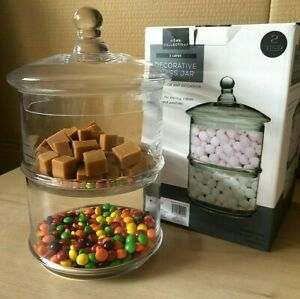2-tier Stackable Glass Storage Jars Sweets Candy Biscuits Kitchen Decor Party