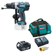 MAKITA 18V DHP458 COMBI DRILL BL1840 BATTERY DC18RC 110v CHARGER & 4 PIECE BAG