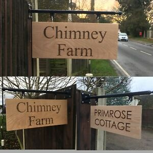 Personalised Solid Oak Hanging Sign Custom Engraved Wooden Plaque & Wall Bracket