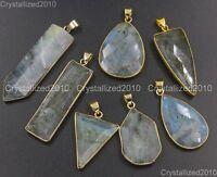 Natural Gemstones Larvikite Labradorite Healing Pendant Necklaces Beads Gold