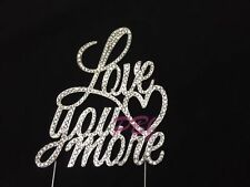 Love You More Wedding Cake Topper Silver Crystal Monogram Free Ship