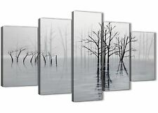 5 Piece Black White Grey Tree Landscape Painting Bedroom Canvas - 5416 - 160cm
