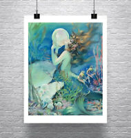 Mermaid With Pearl Underwater Vintage Fine Art Giclee Print on Canvas or Paper