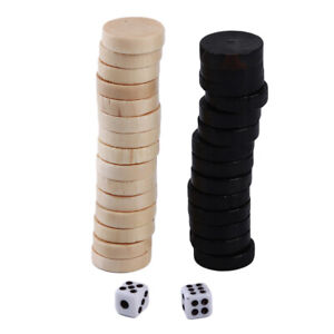 Wooden Draughts Chess Backgammon Checkers Chips Pieces  YW