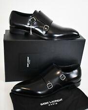 SAINT LAURENT Black Leather DOUBLE MONK STRAP Dress Formal Shoes EU-44.5 US-11.5