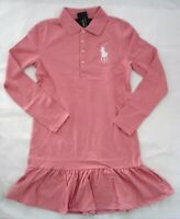 NWT Ralph Lauren Girls Long Sleeve Pink Mesh Big Pony Polo Dress XL 16 NEW $55