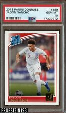 2018 Panini Donruss Jadon Sancho PSA 10 Gem Mint Rookie RC #189