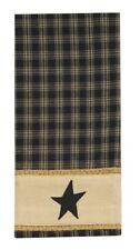 Primitive Country Black Sturbridge Star Decorative Towel Plaid Cotton Farmhouse