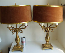 Large & Heavy Pair of 4 Arm Vintage Brass Lamps with Shades 52cm Tall (MOD DEP)
