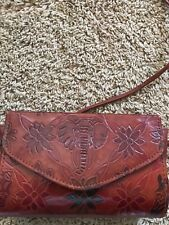 Leather Purse With Safari Look.  Elephant On Front