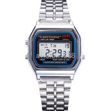 Retro Women Men Stainless Steel LED Digital Alarm Sport Stopwatch Watch Hot UK