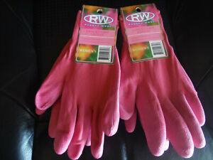 NEW Lot of 2 Rugged Wear PINK Coated Grip Gardening Gloves
