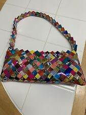 Metallic Recycled Candy Wrapper Purse Handbag Retro Woven Art Pink Zipper